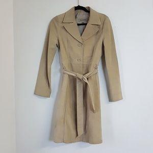 Vintage Women's Aldo Leather Trench Jacket Beige